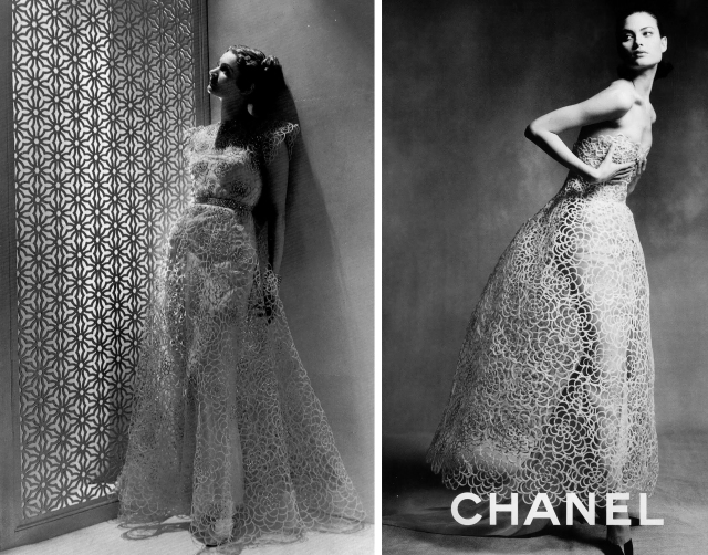 Dress by Madeleine Vionnet, 1938; dress by Chanel haute couture, 1997