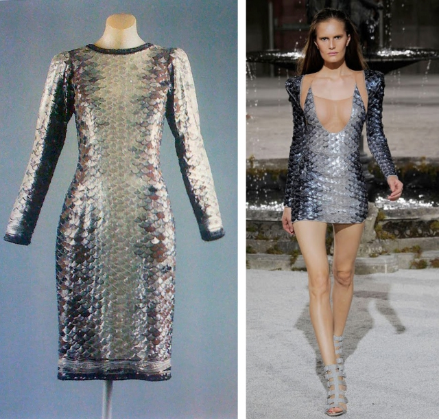 Dress by Yves Saint Laurent, 1983; dress by Julien Macdonald, S/S 2010